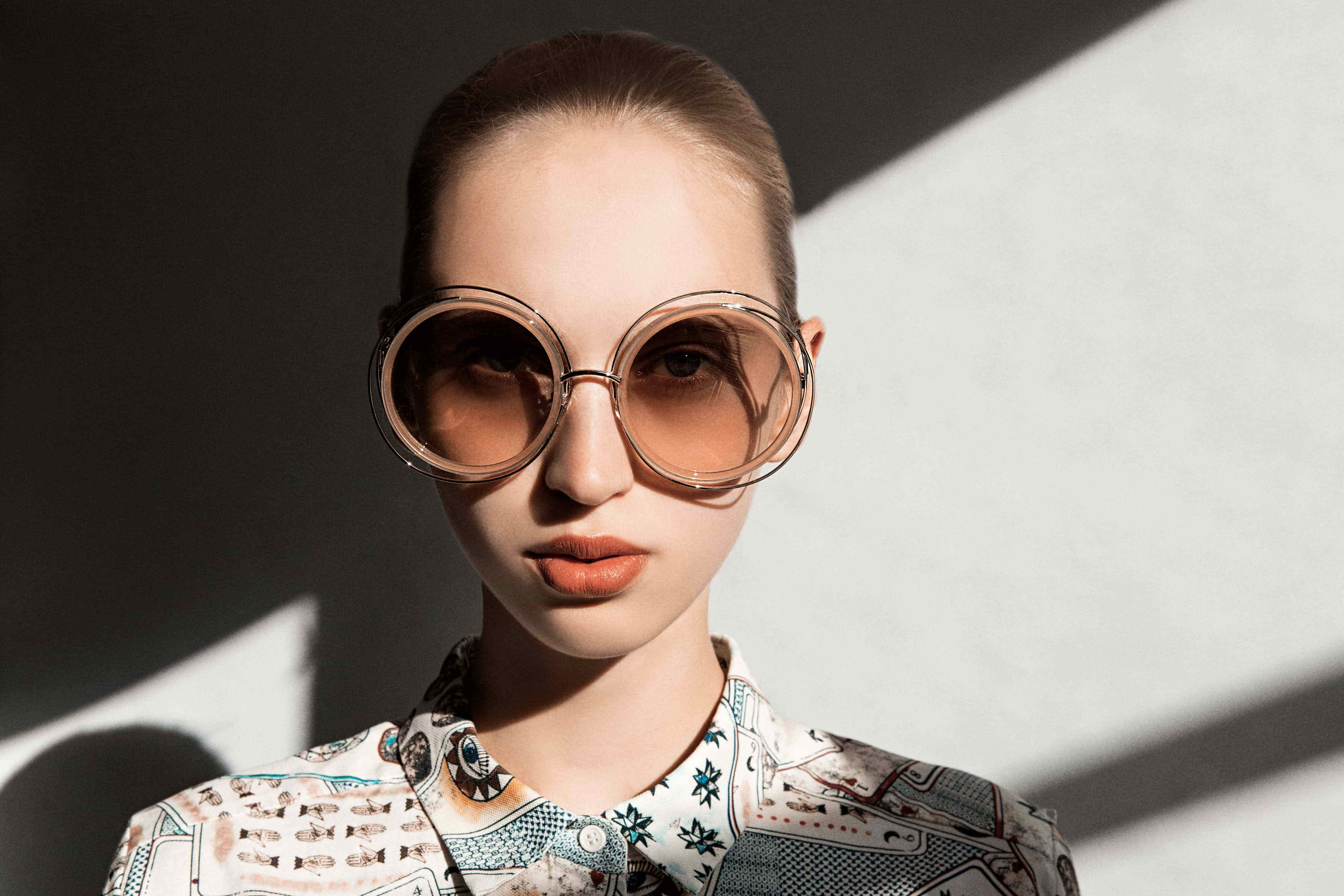 539a1bb85c32 Round Oversized Chloe CE120S 724 Sunglasses in Gold  Transparent Peach  Frame with Grey Lenses