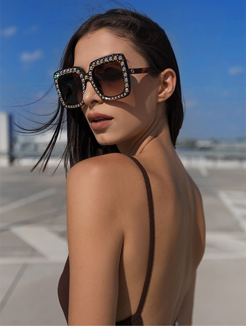 Oversized Jewelled Gucci Sunglasses in Havana Frame Colour with Brown Lenses for Women.