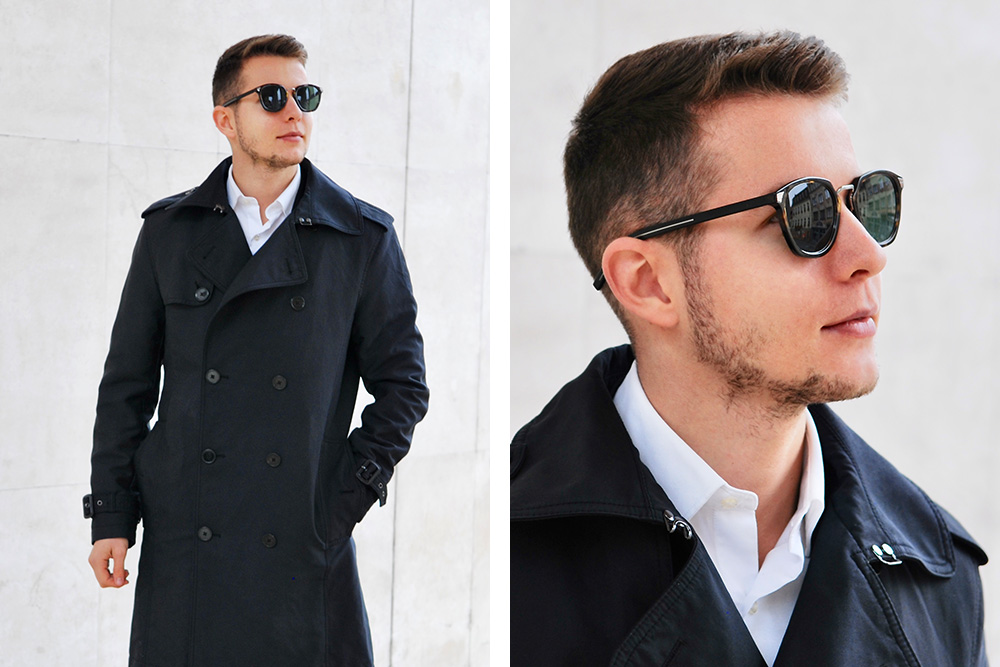 Squared Dior sunglasses in black for men.