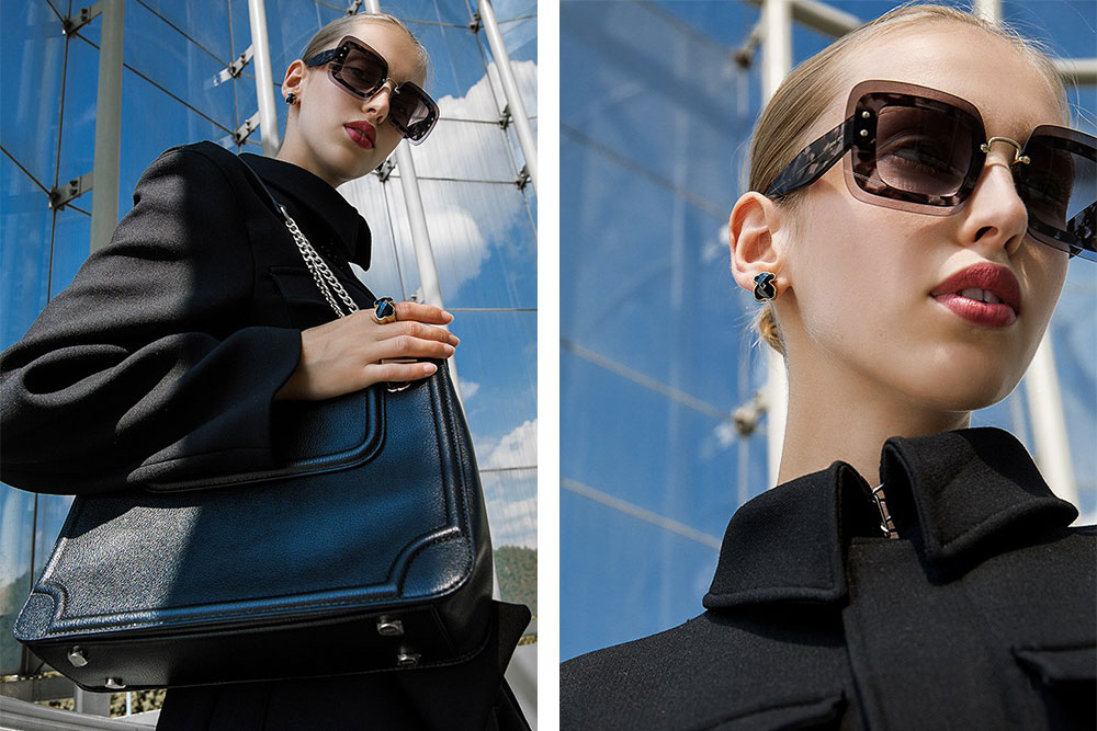 Squared, oversized Miu Miu sunglasses in black for women.